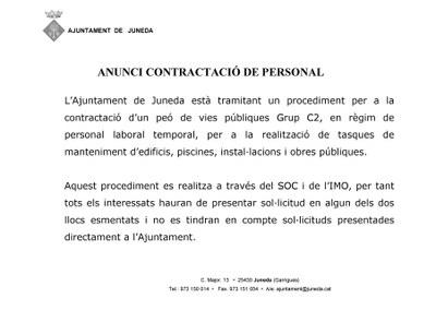 ANUNCI CONTRACTACIÓ DE PERSONAL