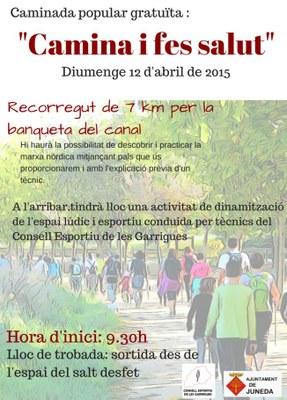 """""""Camina i fes salut"""" proposa un recorregut de 7 km aquest diumenge"""