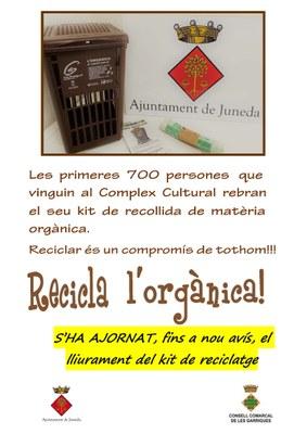 Campanya RECICLA L'ORGÀNICA - ajornada fins a nou avís