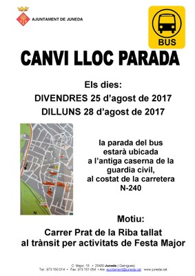Canvi de lloc de la parada del Bus per Festa Major