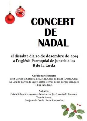 Concert de Nadal a l'església Parroquial de Juneda el dissabte dia 20 de desembre