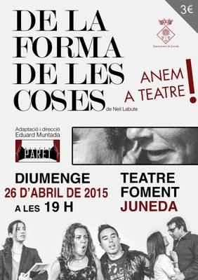 """""""De la forma de les coses"""", comèdia dramàtica el diumenge 26 al Teatre Foment"""