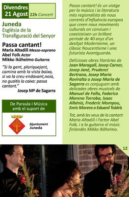 """El Garrigues Guitar Festival arriba a Juneda el 21 d'agost amb el concert """"Passa cantant!"""""""
