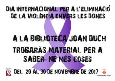 Exposició a la Biblioteca amb motiu del Dia Internacional per a l'Eliminació de la Violència contra les Dones