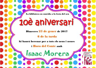 La Biblioteca de Juneda celebra el seu 10è Aniversari