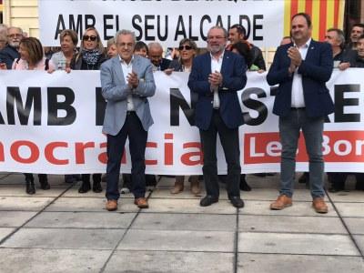 L'alcalde de Juneda, Antoni Villas, amb l'alcalde de Borges, Enric Mir i el president de la Diputació, Joan Reñé, el dia de la seva declaració davant la fiscalia de Lleida
