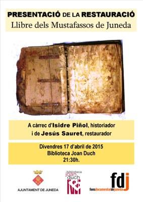 """La restauració del """"Llibre dels mustafassos de Juneda"""" es presenta el divendres 17 d'abril"""