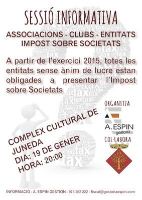Sessió informativa sobre l'Impost sobre Societats el dilluns 19 al Complex Cultural
