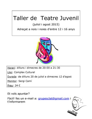 Taller de Teatre Juvenil del Grup L'Esclat durant l'estiu