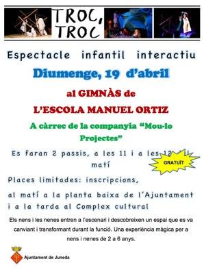 """""""Troc, troc"""", espectacle infantil interactiu diumenge dia 19 a l'Escola Manuel Ortiz"""
