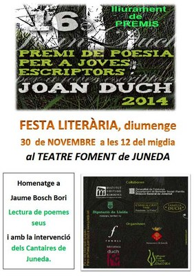 XVI edició dels Premis Joan Duch, diumenge 30 de novembre al Teatre Foment